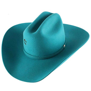 This Dime Store Cowgirl Charlie 1 Horse Turquoise 4X Wool Cowboy Hat Cowboy Hat is proudly made in the USA by Charlie 1 horse or stetson hats. The cattleman crown and raw edge brim hat band show a womens true cowgirl style.