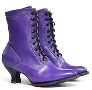 The Eleanor Purple Leather Womens Granny Boots Leather Womens Granny Boots are a lovely leather wedding cowgirl boots with a Victorian old west boot look with lace up and hooks in a short shaft for women.