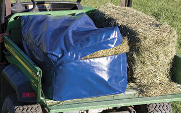 Stowaway Deluxe Vinyl Full Bale Bag Will hold a large 3-strand bale! Sturdy nylon web handles, along with durable and waterproof vinyl, make this bag the best in the market. Protect your bales from moisture or greedy horses.