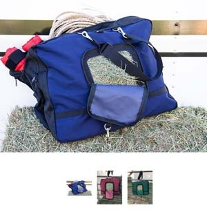 The Stowaway Deluxe Horse Hay Crew Gear Bag doubles as a hay feeder waterproof nylon stow 2 flakes of hay feeder opening secured zipper closure. perfect bag for the 1 rider team holding riding equipment.