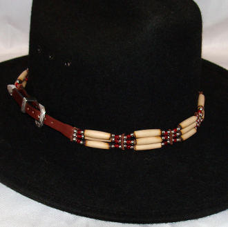 82cc4c652ab Cow Bone and Brown Leather Silver Buckle Cowboy Hat Band