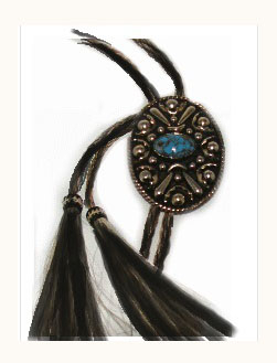 "The ""Poncho"" Turquoise Stone Horse Hair bolo tie with Tassels is made in the USA with cruelty free horse hair in a 42"" long bolo string with silver concho and turquoise stone cowboy western look for any occasion."