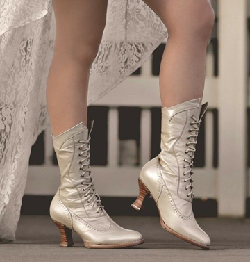 "Walk down the aisle in feminine Victorian style in these ""Jasmine"" Kidskin Womens Pearly White Granny Boots. These womens wedding boots have full grain leather, pointed toe with wingtip detail."