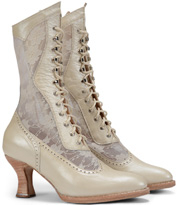 "These ""Jennie"" Women's ivory Leather and Lace Granny Boots look great for any western wedding. These white granny Victorian boots have white see through lace with a 9"" shaft and a 3"" heel and lace up hooks"