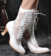 "These ""Jennie"" Women's White Leather and Lace Granny Boots look great for any western wedding. These white granny Victorian boots have white see through lace with a 9"" shaft and a 3"" heel and lace up hooks"