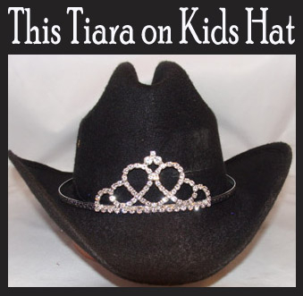 """Tie the Knot"" Rhinestone Cowboy hat tiara is proudly made in the USA for the queen of the rodeo to be crowned by this cowboy hat tiara is an exciting look an any cowgirl competing to be the horse show winner."