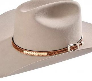 This Brown Woven Basket weave leather Rawhide hat band is hand made in the USA with real leather rawhide and a sterling silver belt buckle closure a great western hat band for cowboys or cowgirls.