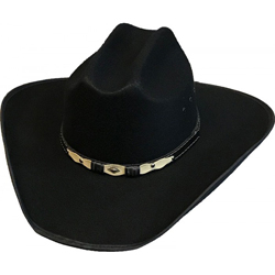 "The ""Ranger"" Faux Wool Adult Black Cowboy Hat is perfect for either cowboys or cowgirls who love to a good western hat. Economy priced made of Mexican Wool with a leatherette two toned hat band."