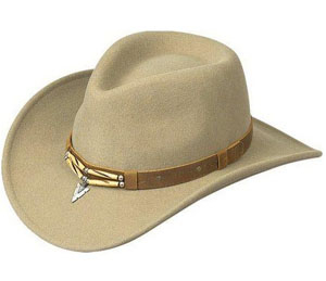 "This ""NACOMA"" Lite Felt Bailey cowboy hat is USA MADE with Litefelt® telescope crown a southwestern or native american Indian look with the center bones design and silver arrowhead on a contrasting brown hat band"