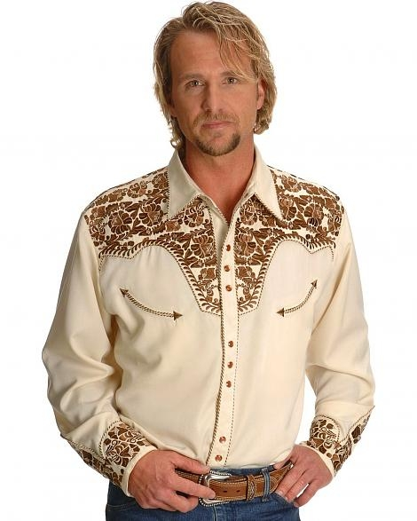 "This Men's ""Natural Gunfighter"" Western shirt by Scully is a western favorite with the beautiful vintage smiley pockets and retro floral embroidered yoke complete with pearl snaps to make this a great cowboy shirt."