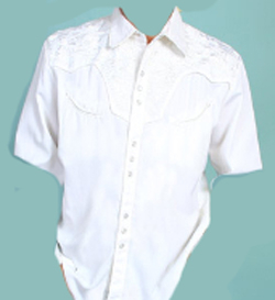 This Scully Men's Short Sleeve White Embroidered Western Shirt is a western favorite with the comfort of the short sleeves with beautiful vintage smiley pockets and retro floral embroidered yoke with pearl snaps.