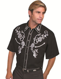 "This ""Ponderosa"" Mens Scully Short Sleeve Black Western Shirt is adorned in embroidered white roses on a high quality black western shirt with diamond pearl snaps."