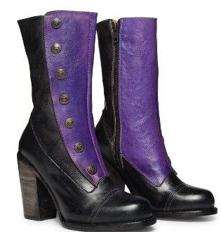 These Black and Purple Steampunk fantasy boots in AMELIA hand crafted full grain leather two-tone color metal buttons goodyear leather welt made to last. This style will take you from active festival days to celebratory party