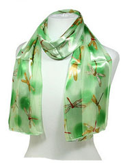 Green Dragonfly Silk Scarf