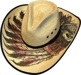 This Sahuayo Straw Native Chief Skull Cowboy Hat has detailed top and underneath native feathers and skull designs to make this a unique and rare cowboy hat.