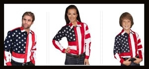 USA Flag apparel in western wear with the American flag embroidered cowboy or cowgirl shirts for men and women even the kids with pearl snaps and american flag scarves to match and show you usa pride