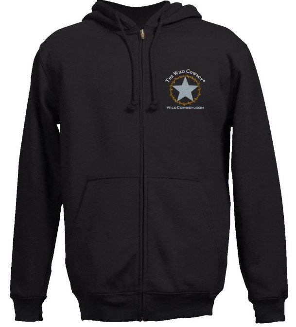 """The Wild Cowboy"" Logo Black Embroidered Western Hoodie"
