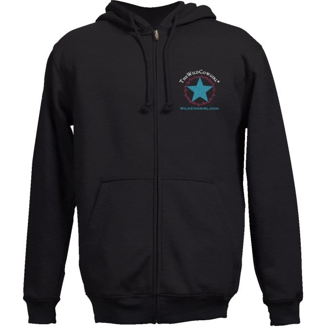 """The Wild Cowgirl"" Logo Black Embroidered Western Hoodie"